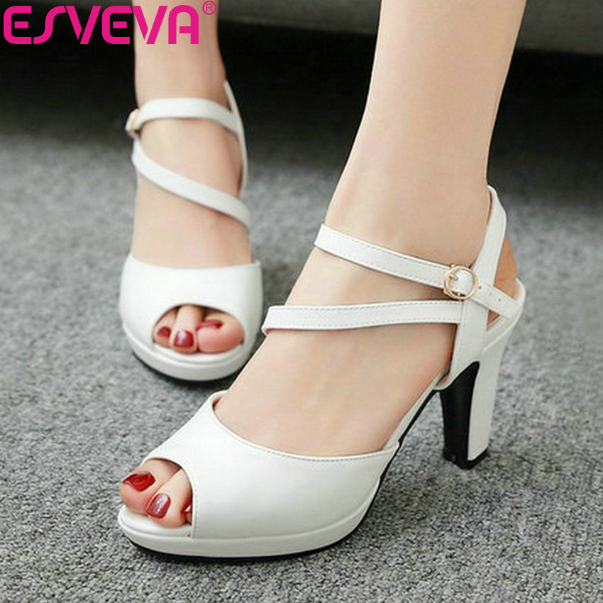 ESVEVA 2019 Women Sandals Buckle Peep Toe Western Style Shoes Sandals Back Strap Square High Heels Shoes Chunky Heels Size 34-43ESVEVA 2019 Women Sandals Buckle Peep Toe Western Style Shoes Sandals Back Strap Square High Heels Shoes Chunky Heels Size 34-43