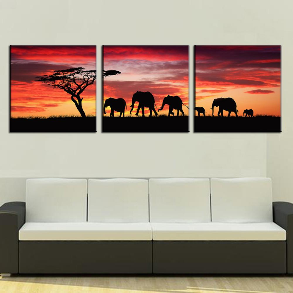 aliexpresscom  buy  pcsset landscape painting wall art  - aliexpresscom  buy  pcsset landscape painting wall art pictures africanelephants canvas print modern wall paintings from reliable print logosuppliers