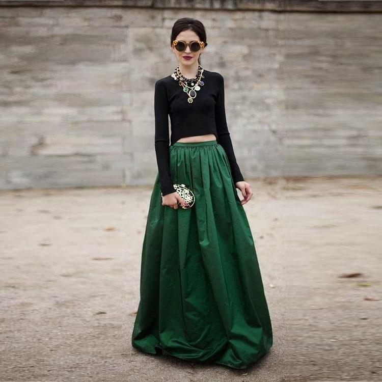 Dark Green Maxi Skirt - Dress Ala