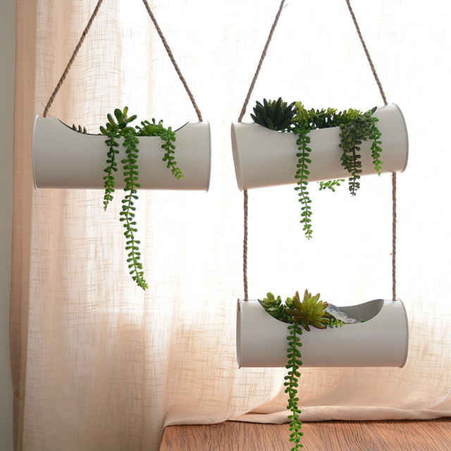 Hanging Planter Set Iron and Rope Modern Succulent Cactus Pots Decorative Display Double layer