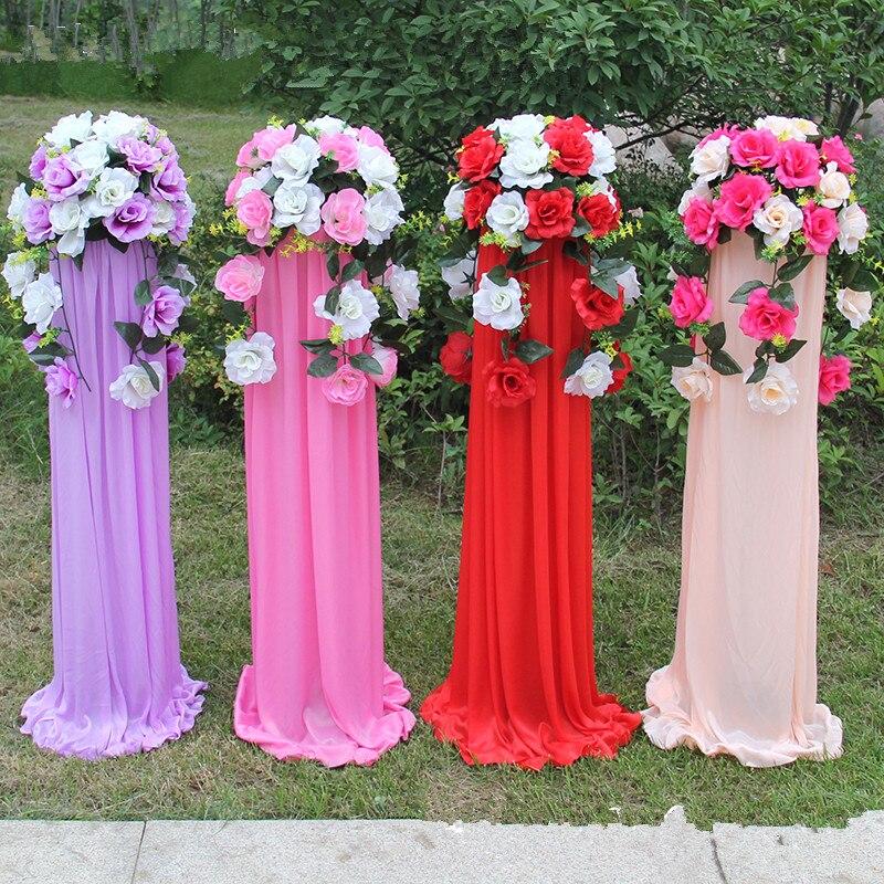Nouvelle décoration de mariage route cité panier de fleurs colonnes romaines ensembles pour fête centre commercial hôtel ouverture accessoires centres de table
