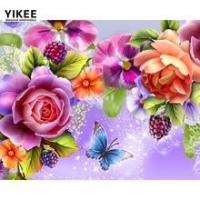 YIKEE Diamond Painting Flower with Butterfly 5d Full Square/Round Drill Picture Of Rhinestones Beadwork    h427 yikee diamond painting full square dogs 5d full square round drill picture of rhinestones beadwork h1468