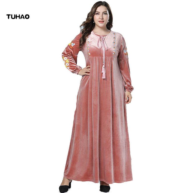 70de4a1cdd TUHAO Long Sleeve Maxi Dress Fall Pink Muslim Dresses PLUS SIZE 4xl 3xl  Velvet Embroidery Long
