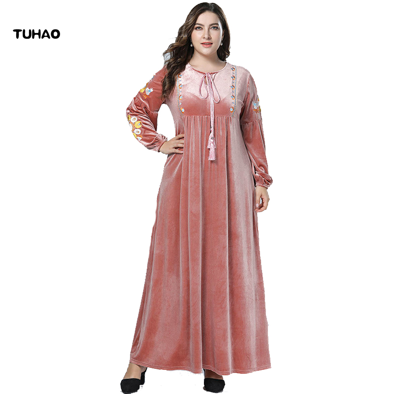TUHAO Long Sleeve Maxi Dress Fall Pink Muslim Dresses PLUS SIZE 4xl 3xl  Velvet Embroidery Long Dress Ethnic LOOSE Dresses ZZL