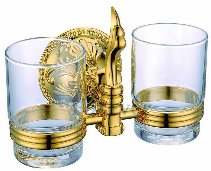 Free Shipping luxury European style Golden copper tooth brush tumbler&cup holder with 2 cups wall mount bath product LG003 freeshipping wall mount tooth brush holder oil rubbed bronze bath dual cups