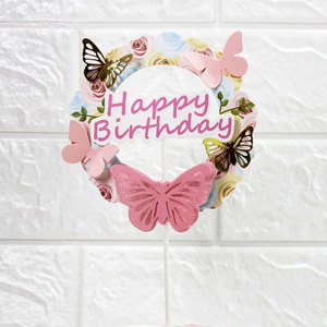 Image 2 - Pink Blue Paper Butterfly Garland Cake Toppers Happy Birthday LOVE Cake Top Decor Birthday Wedding party Supplie