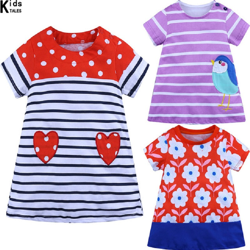 2019 Fashion Rainbow colorful girls dress Toddler Kid Girls Short Sleeve Dress Casual Cotton Dress Summer Clothes