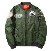 YuWaiJiaRen 패션 폭격기 Jakcet 남성 파일럿 공군 육군 엄마 1 재킷 두개골 인쇄 편지 패턴 바느질 코트