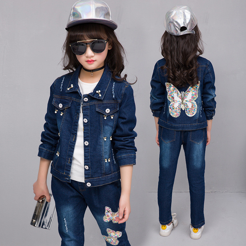 Fashion Kids Clothing Sets Denim Suits Spring Autumn Big Girls Clothes Sets Outfits Blue Girls Denim Jackets+Jeans 2PCS Suits kids clothing sets for girls spring print denim tops