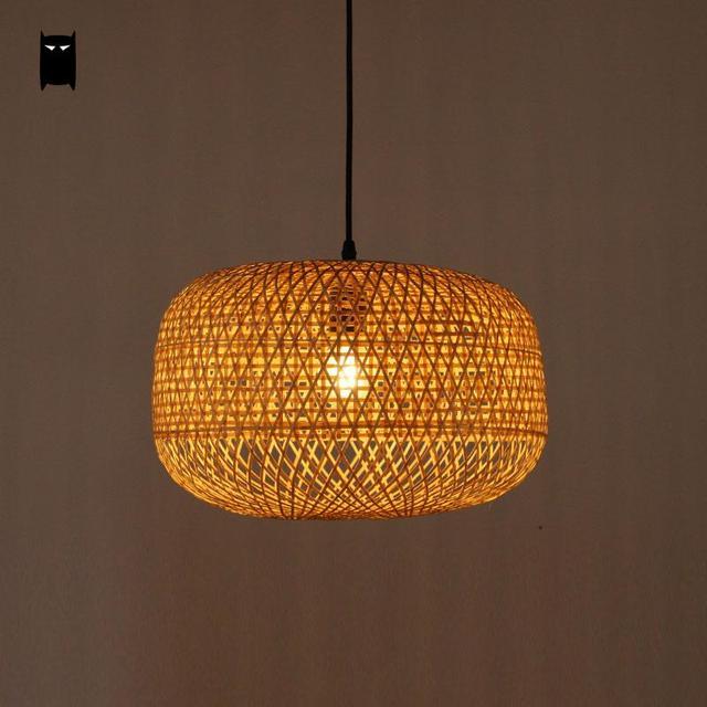 Bamboo Wicker Rattan Pumpkin Lampshade Pendant Light Fixture Creative Art Deco Suspension Lamp Foyer Salon Dining Table Room LED