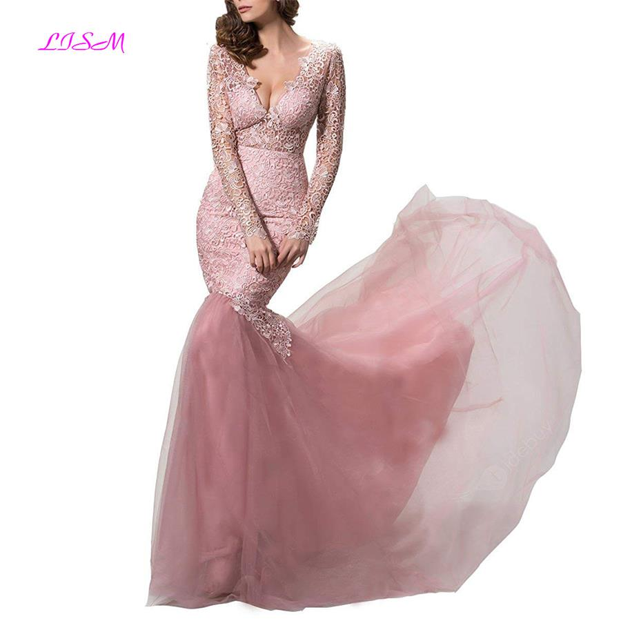 Lace Evening Dresses Long Sleeves Mermaid Prom Party Dress Pink robe longue soiree Sexy V-Neck Backless Bodice Formal Gowns