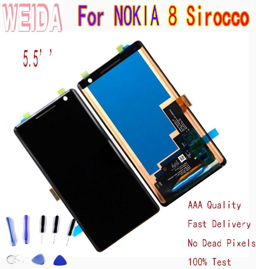 WEIDA Para NOKIA Siroco 8 LCD Screen Display Toque Digitador Assembléia Para Nokia Exibição 8 S com a Ferramenta
