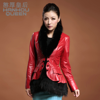 Plus size NEW Fashion Ladies' genuine leather coat,Elegant slim fox fur slim sheepskin jacket coat, genuine leather jacket FQ171
