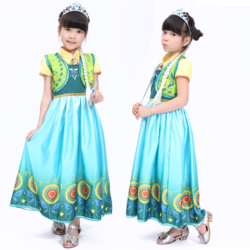 Free shipping 2016 new Anna cosplay princess dress children's clothing  costumes Children's Halloween costumes dance clothes