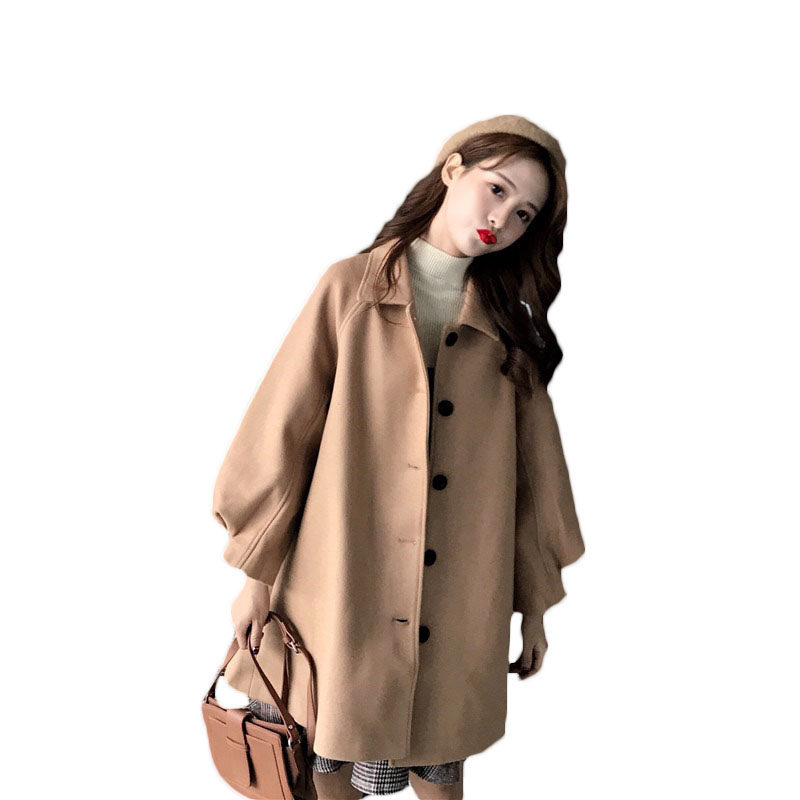 2018 Autumn Winter New Korean Women Wool Coat Thicken Long Loose Large Size Solid Color Cloak