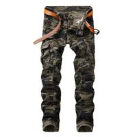 Idopy Men`s Camouflage Biker Jeans Slim Fit Military Style Camo Multi Pockets Designer Motorcycle Cargo Jeans For Man