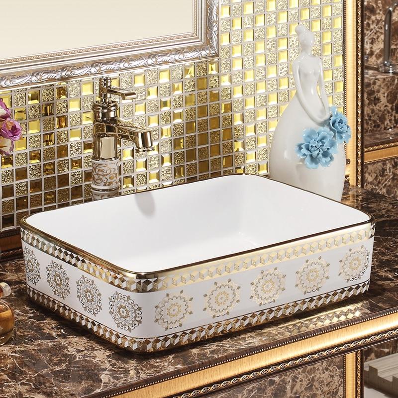 Jingdezhen ceramic sanitary toilet table wash basin wash basin wash basin titanium silicate sand art wash