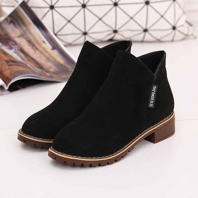 2020 Mới Thời Trang Nữ Giày Bốt Martin Thu Đông Giày Cổ Điển Dây Kéo Cổ Chân Giày Cảm Giác Ấm Sang Trọng Nữ Giày Nữ