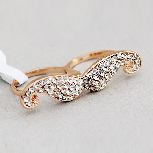 wholesale gold crystal mustache ring girls fancy ring jewelry