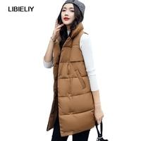 Nice Autumn Winter Women Vest Waistcoat Sleeveless Jacket Cotton Warm Turn Down Collar Long Vest Female Coat Vest Plus Size 2XL