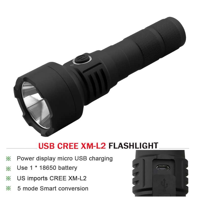 CREE XM-L L2 LED Flashlight 18650 Battery  USB Rechargeable Gladiator Flash light Powerful Torch ,Suitable for Camping  Lanterna cree xm l t6 bicycle light 6000lumens bike light 7modes torch zoomable led flashlight 18650 battery charger bicycle clip