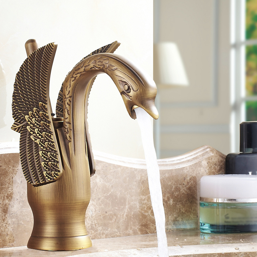 Antique Brass Swan Shape Bathroom Basin Sink Faucet One Hole Traditional Style Mixer Tap Deck mounted With Two Pipes