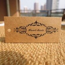 50 Uds etiqueta kraft para regalo Vintage hecha a mano DIY fiesta boda mensaje regalo etiqueta colgante etiqueta artesanal Etiqueta de tarjetas cuerda de cáñamo incluida