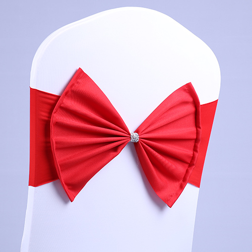 100 Pcs Wedding Chair Sash BIG Bow Acrylic Chair Cover Band Elastic Chair Sashes Spandex Cover Chair Decorations Event Party