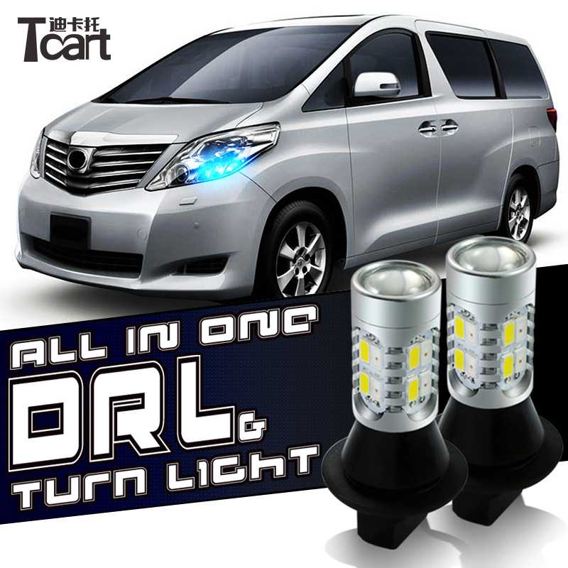 Tcart drl turnlight Para SaangYong Ação 1156 180 graus Luzes Diurnas DRL & Front Turn Signals all in one