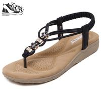Summer New Fashion Women Sandals Diamond Soft Bottom Casual Comfortable Flat Sandals Large Size Female Beach