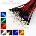 100PCS DC5V/12V/24V Optionally 3mm/5mm/10mm Red/blue/green/white/yellow color Pre-Wired LED
