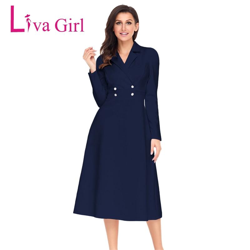 Liva Girl Winter Midi Dresses Women 2018 Vintage Long Sleeve Ladies Office Dresses V Neck Elegant