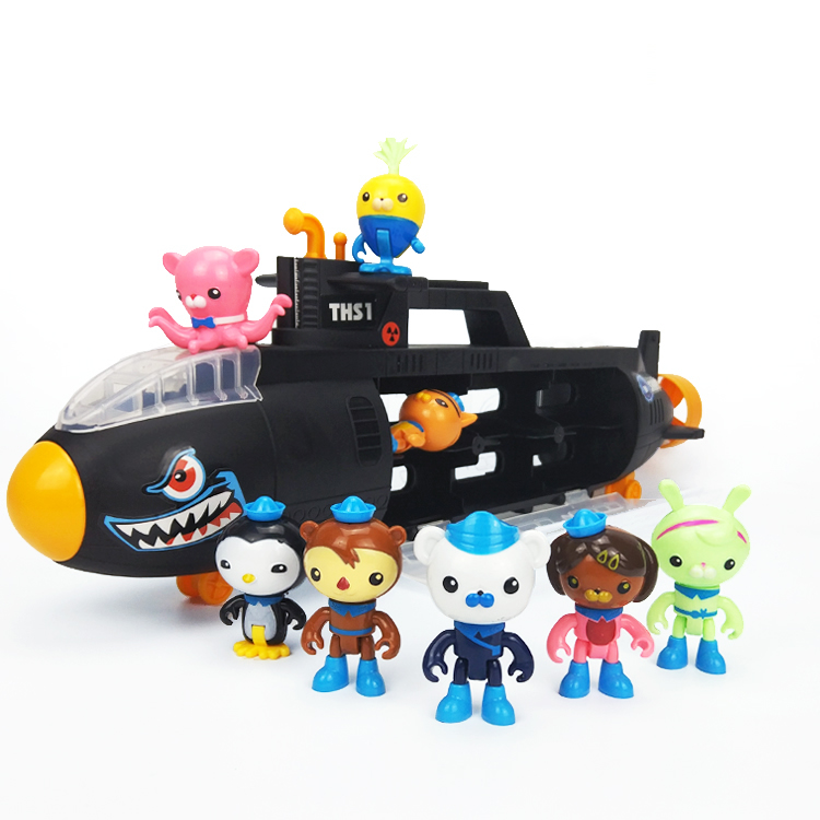 55cm Octonauts Black Submarine U-Boat Model With 8pcs Octonauts Figrues Baby Children Best Birthday Gift