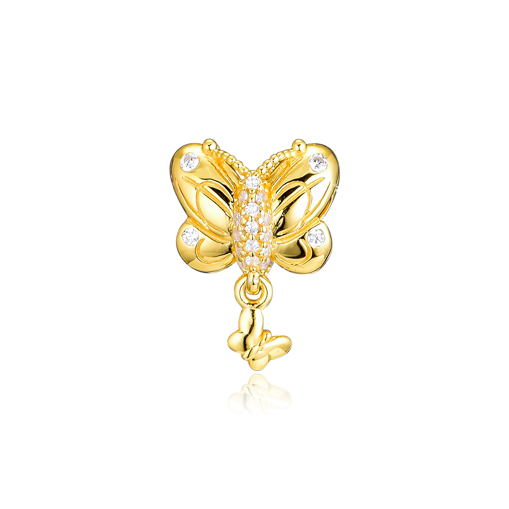 CKK Golden Decorative Butterfly Beads Charms 925 Sterling Silver For Jewelry Making Fits Pandora Bracelet Charm Bead BerloqueCKK Golden Decorative Butterfly Beads Charms 925 Sterling Silver For Jewelry Making Fits Pandora Bracelet Charm Bead Berloque