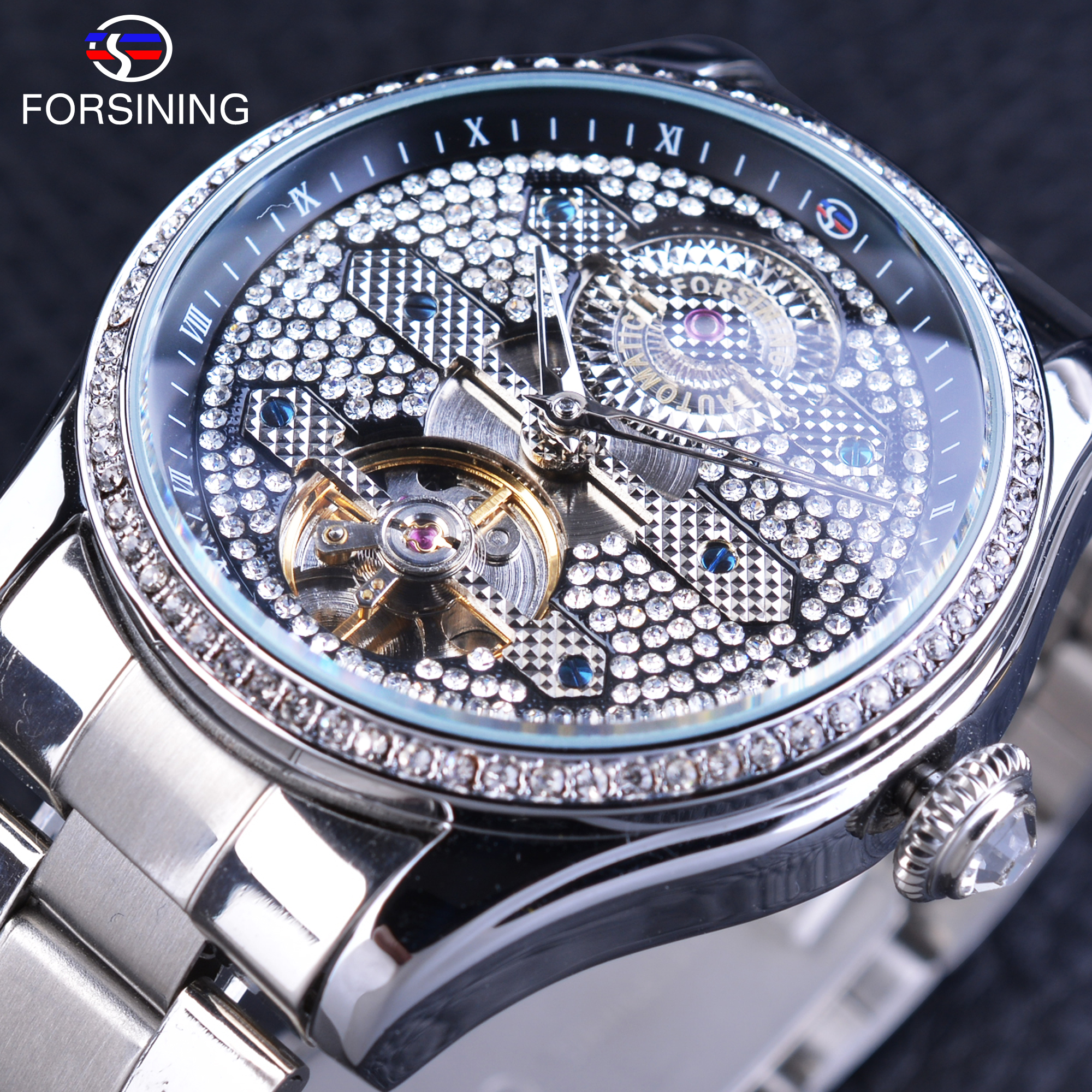 Forsining Trendy Automatic Men's Wrist Watch Diamond Stainless Steel Band Tourbillion Clock Folding Clasp with Safety forsining golden stainless steel sport watch steampunk men watch luminous openwork mechanical watches folding clasp with safety