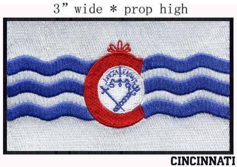 Cincinnati, Ohio USA Flag embroidery patch 3 wide shipping/Red tie/Pole/peak