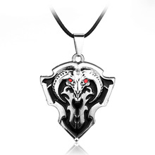 Red Crystals Black Enamel Dota 2 Pioneer Vanguard Shield Necklaces & Pendants Dota Necklace Kolye Collares(China)