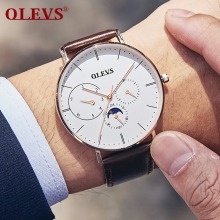 OLEVS Ultra-thin Men Watch Male Leather Moon Phase Quartz Watches Mens