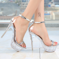 Sandal women 2019 summer thin heels sexy party shoes platform high heels ankle buckle transparent heel big size 4.5 10.5