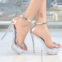 Sandal women 2019 summer thin heels sexy party shoes platform high heels ankle buckle transparent heel big size 4.5-10.5