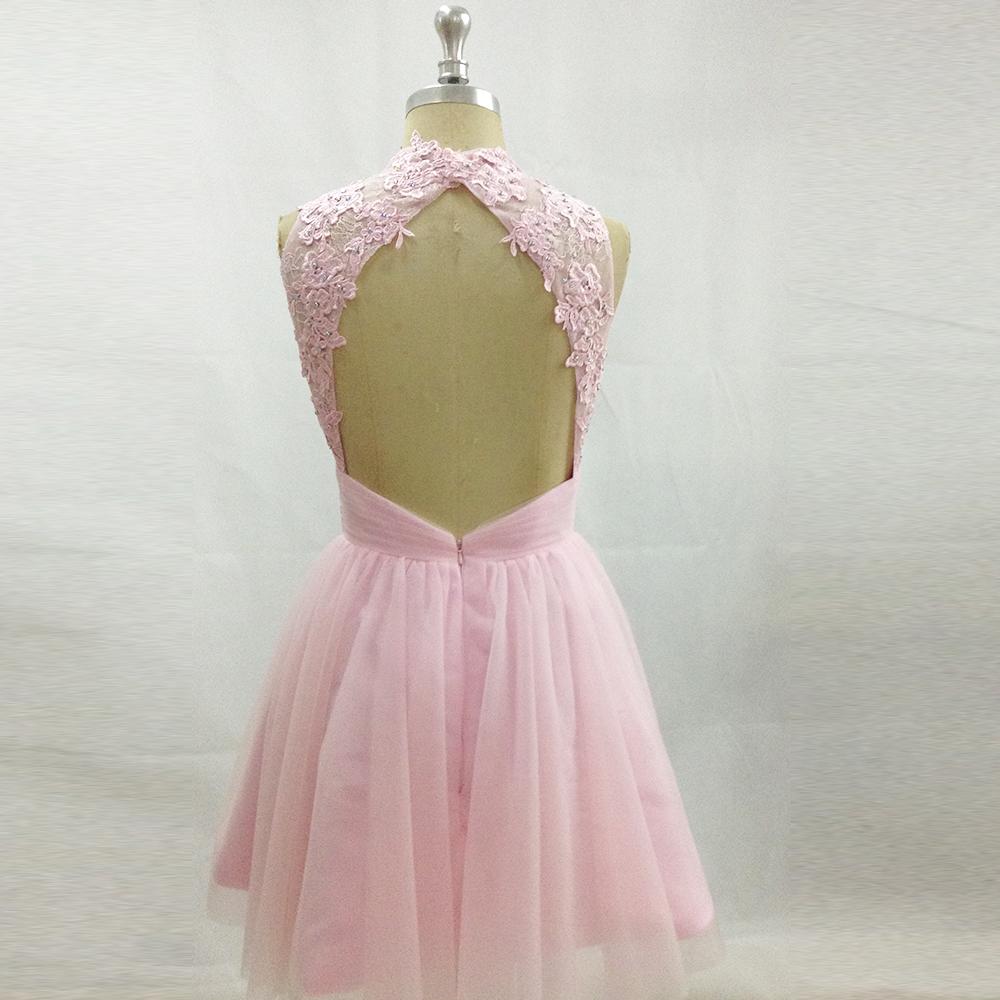 127c16d3c38 Modest Cheap Pink Prom Dress for Graduation Lace Short Party Dresses  Backless Homecoming Dress Sequin Vestido de Festa Curto. W119 (5) W119 (3)  ...