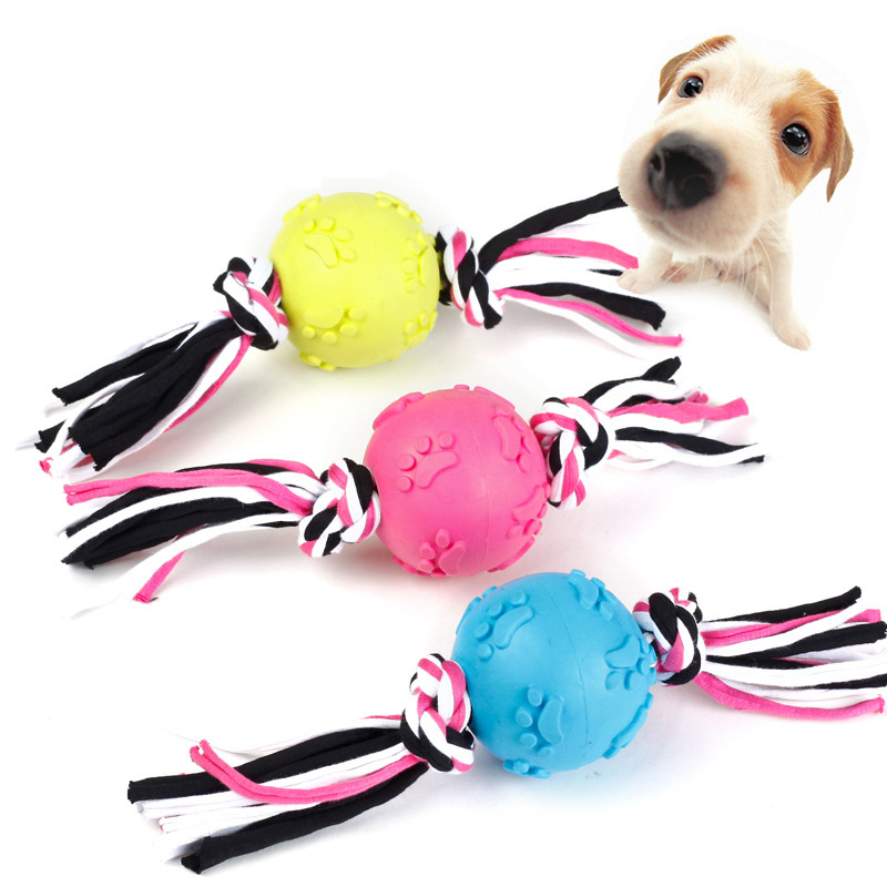 1pcs Small Dog Toy Ball Cleaning Teeth Rope Puppy Dog Toy Pet Dog Chew Toy Pets Dogs Games Cotton Knot Ropes