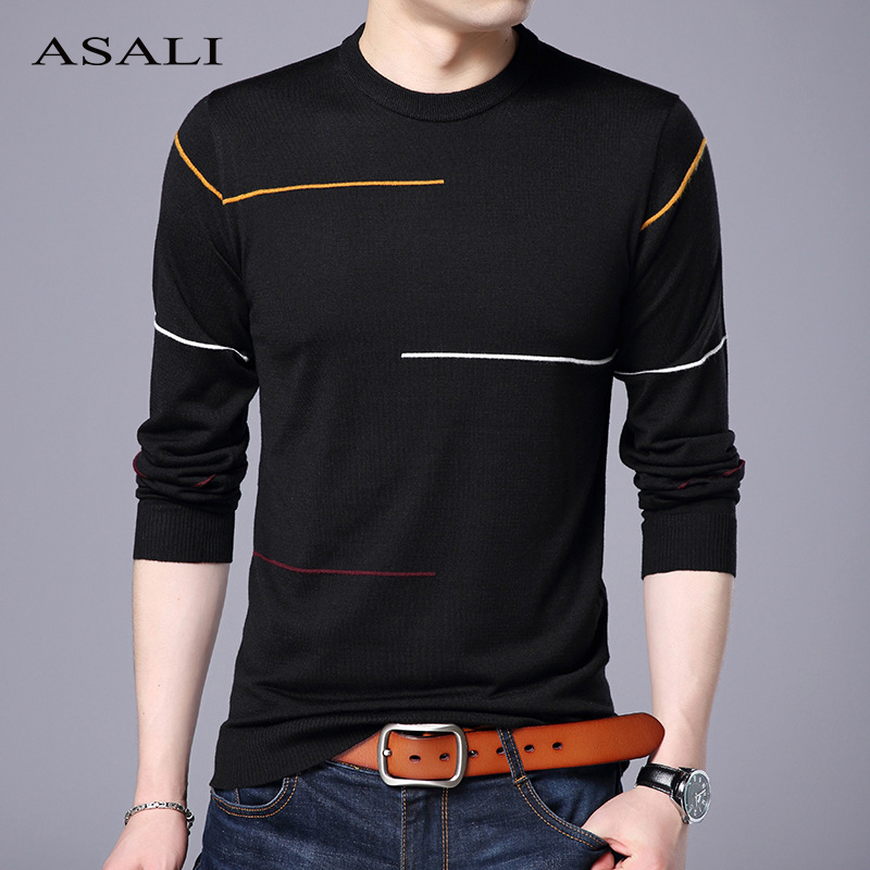 ASALI Autumn Casual Men's Sweater O-Neck Striped Knittwear Homme Outwear Mens Sweaters Slim Fit Knitted Pullovers Men Winter Top