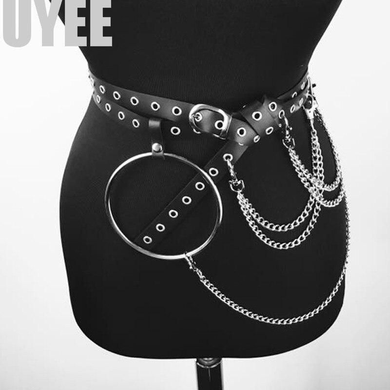UYEE Unisex Pu Leather Harness   Belts   Big O ring Metal Waist   Belt   Women Leisure Jeans Chain Buckle Ladies Strap Garter LP-015