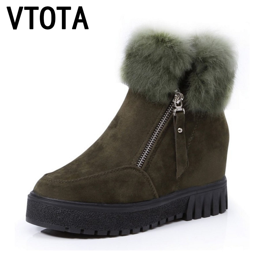 VTOTA Snow Boots Women Winter Boots Fashion Warm Casual  Ankle Boots For Women Wedges Shoes Fur Platform Shoes Woman Botas E53 vtota snow boots women winter boots hot warm fur flat platform shoes women slip on shoes for women botas mujer ankle boots e62