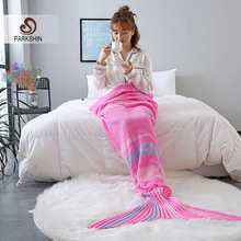 купить Parkshin Pink Strip Mermaid Throw Blanket Handmade Mermaid Tail Blanket for Adult Kid Multi Colors 2 Size Sofa Blanket Wholesale по цене 888.39 рублей