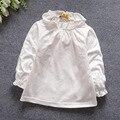 Do bebé camisas outono primavera crianças gola de renda roupa interior de manga comprida roupas de algodão menina branco camiseta 818
