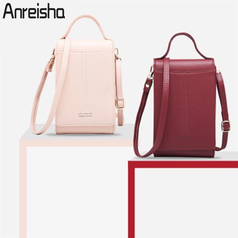 Anreisha Women Phone Bags Wallet High Capacity Passport Card Holder Female Shoulder Money Phone Purses Fashion Small Change Bag
