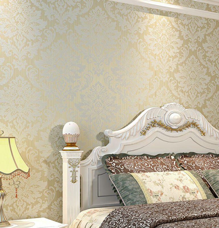 10M 53Sqm Roll Classic Vintage Damask Gorgeous White Cream Coffee Gold Teal 5 Color Textured Flocking Wallpaper For TV Bedroom In Wallpapers From Home