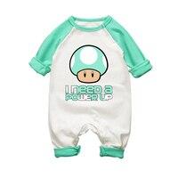 スーパーマリオキノコプリントベビーロンパースかわいい赤ちゃん綿の服春秋0-18ヶ月の少年少女ジャンプスーツ幼児子供